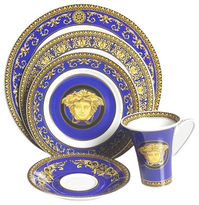 Versace Medusa Blue  Victorian  Dinnerware Sets  by Upscale Gallery