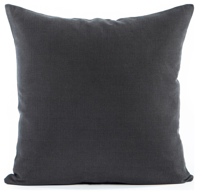 solid charcoal gray accent throw pillow cover 16 x16