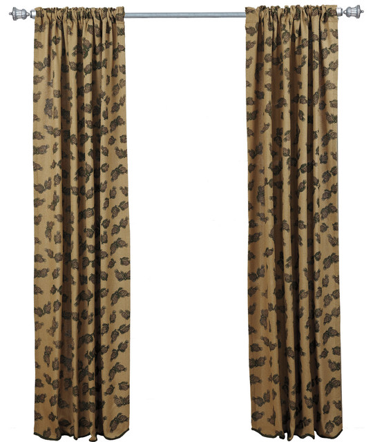 Shop Houzz VHC Brands Pine Cone Panel Printed Burlap Set Of 2 Curtains