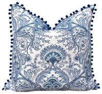 Blue and White Linen Pillow Cover With Navy Blue PomPom ...