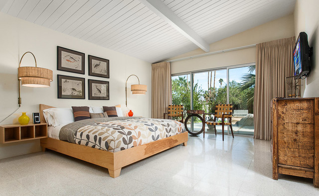 mid century modern home in palm springs - midcentury - bedroom