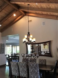 Hanging rectangular chandelier with 2 wires on sloped ceiling