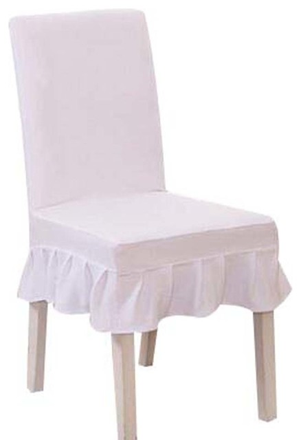 stretch chair covers desk chairs ikea fit 2 pcs seat short cloth white elastic slipcovers contemporary and by blancho bedding