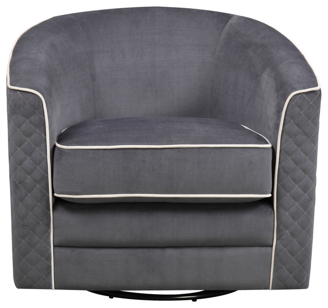 quilted swivel chair flex steel chairs emerald home roe transitional armchairs and accent by