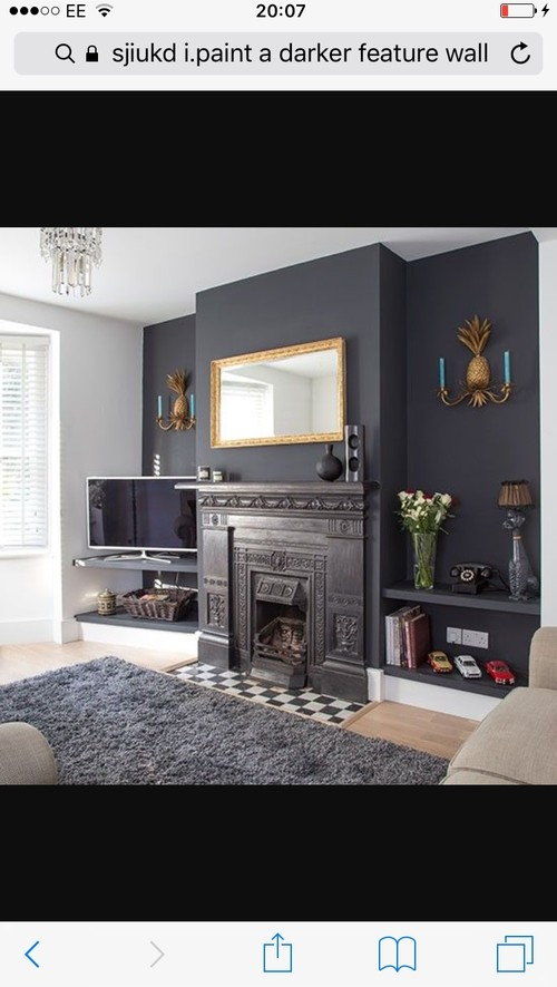 white and grey living room paintings decorations dark feature wall?
