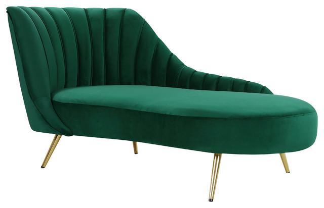 margo velvet chaise green