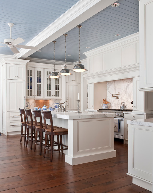 White Marble Kitchen traditional-kitchen