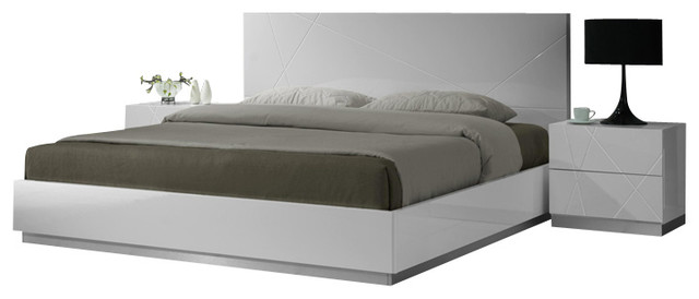 JM Naples Glossy White Lacquer Finish Queen Size Bedroom Set  Modern  Platform Beds  by New