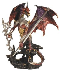 Red and Gold Dragon with Armour and Metal Staff and Sword ...