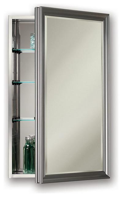 "Studio V 15"" x 25"" Satin Nickel Medicine Cabinet, Surface"
