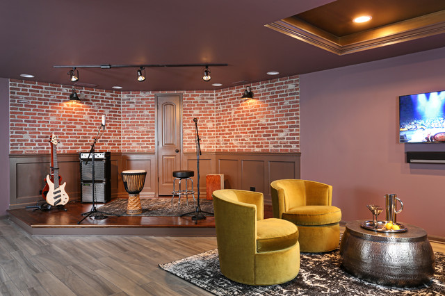 purple living rooms houzz burnt orange curtains for room basement bar & stage creates night club vibe - eclectic ...