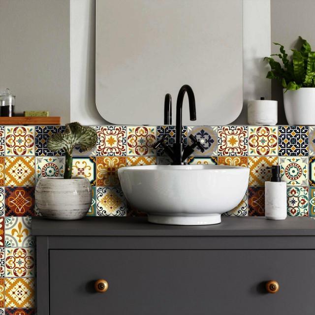 spanish terracotta tile peel and stick backsplash