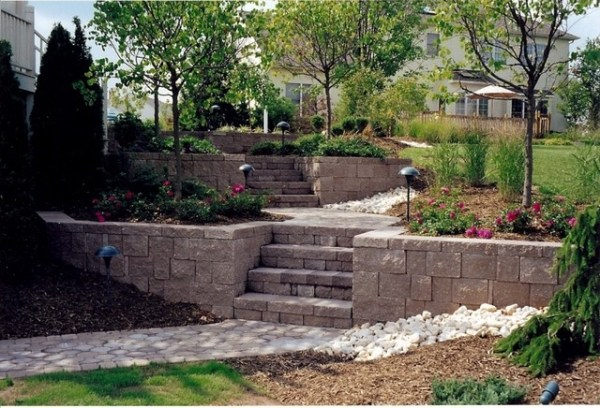 patio landscaping - retaining wall