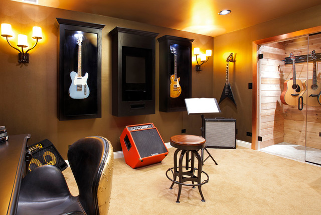 Music and Guitar Room  Transitional  Home Office  Library  Chicago  by Danielle B
