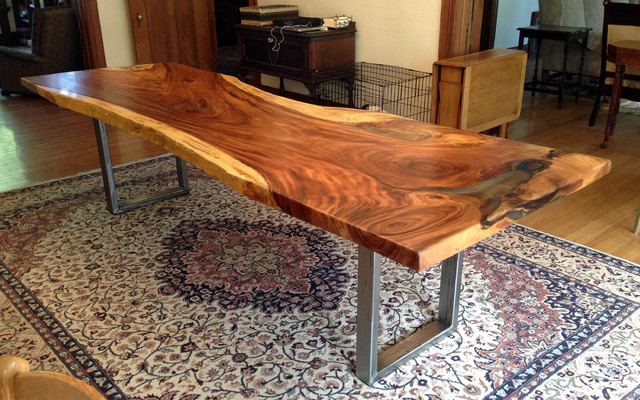 Natural / Live Edge Monkeypod Wood Dining Table With