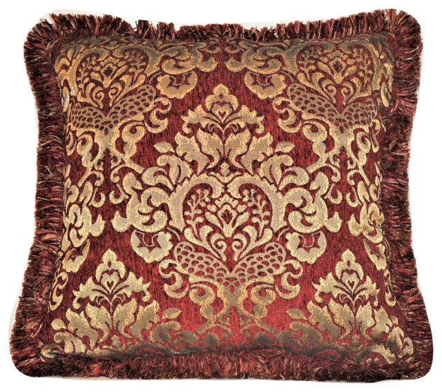 chenille throw pillow with fringe red gold 14x14