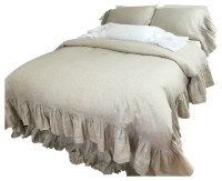 Natural Linen Duvet Cover, Mermaid Ruffle