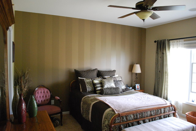 Striped Accent Wall Traditional Bedroom Chicago By
