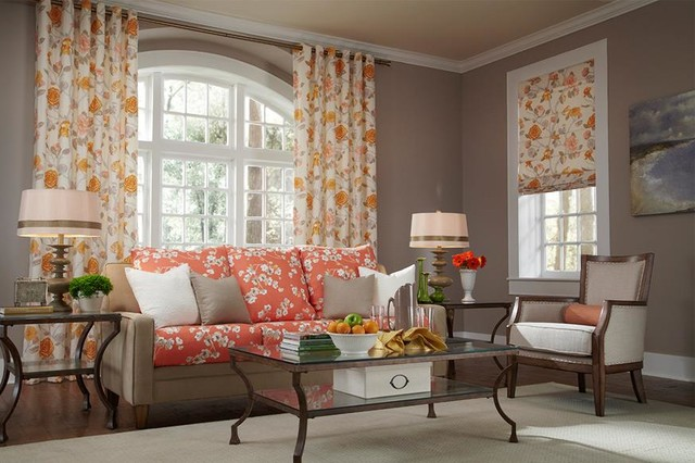 Floral Orange and Yellow Curtains  Draperies of