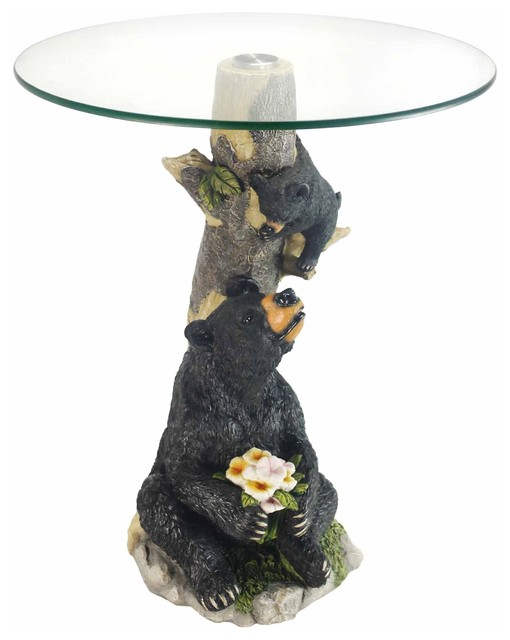 24H Glass Top Color Sculpture End Table Bear  Rustic