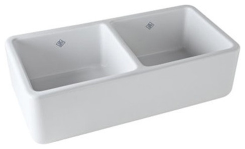 Rohl 37in Double Basin Fireclay Apron Front Kitchen Sink