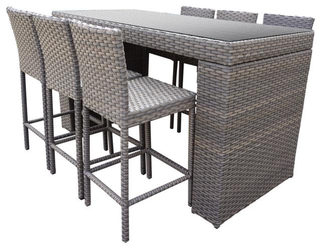 monterey bar table set barstools 7 piece wicker patio furniture grey stone