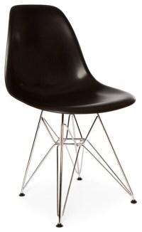 Molded Plastic Eiffel Base Dining Side Chair, Black ...