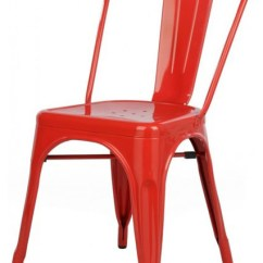 Cafe Chairs Metal Office Chair Rental Tolix Style Industrial Loft Designer Red Outdoor Dining By Emodern Decor