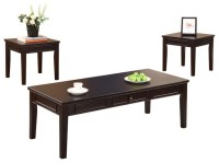 Cocktail and 2 End Tables, Espresso Finish, 3 Piece Set