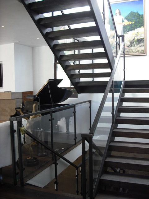 3 Story SteelGlass Wood  Contemporary  Staircase  San