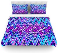 "Nika Martinez ""Blue Electric Chevron"" Cotton Duvet Cover"