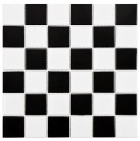 Merola Tile Boreal Quad Checker Black and White Porcelain ...