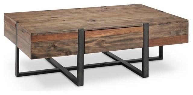 prescott modern reclaimed wood rectangular coffee table rustic honey