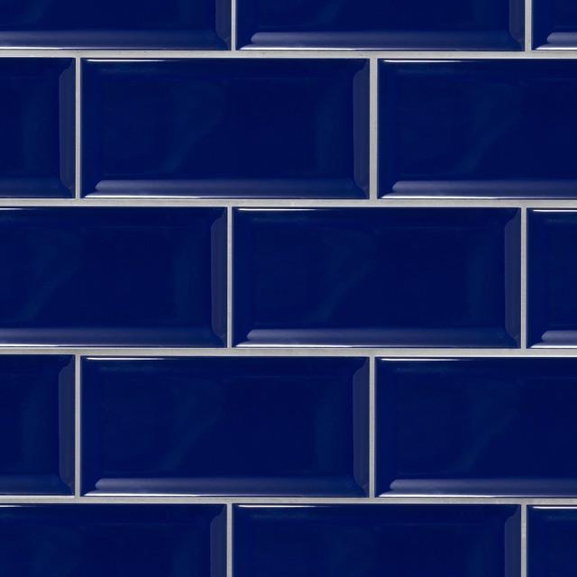 beveled 4x8 cobalt blue subway tile box of 11 1 sq ft