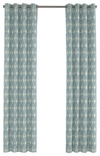 Aqua Moroccan Mosaic Grommet Curtain - Mediterranean ...