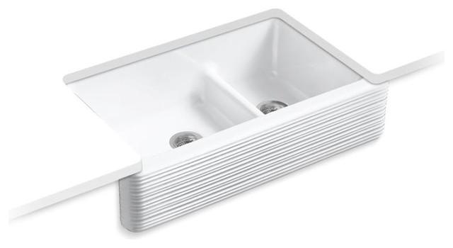 kohler whitehaven smart divide double bowl kitchen sink hayridge design white