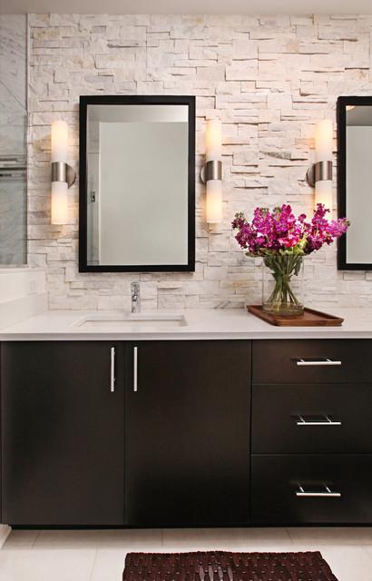 Rough Hewn Stone Backsplash In Modern Master Bath Modern