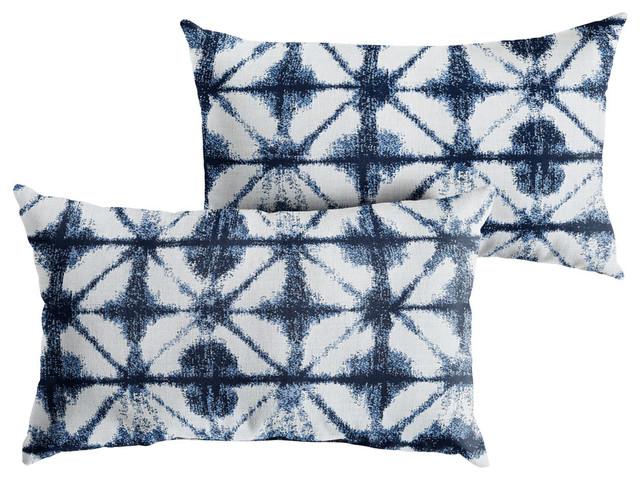 sunbrella carrington indigo geometric outdoor xl lumbar pillow set of 2