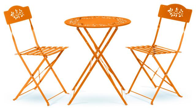 metal 3 piece bistro set orange