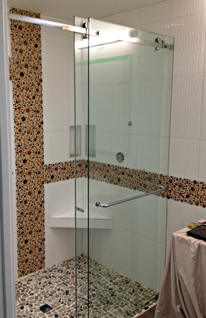 office chairs under 50 2 folding chair gunde curbless shower with frameless glass sliding door, vancouver - modern bathroom ...