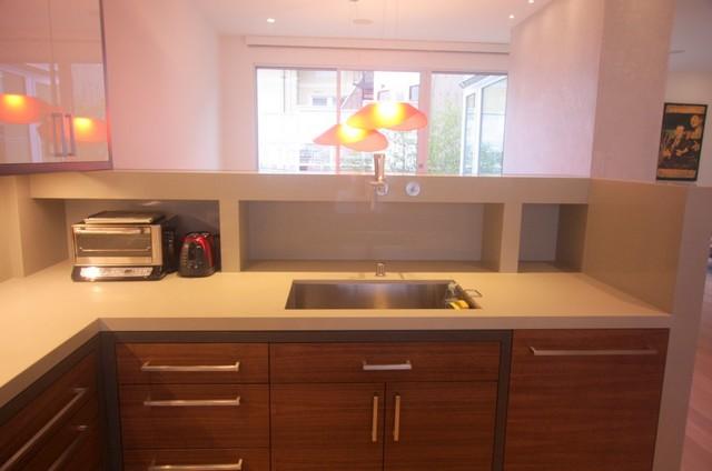Doublesided kitchen with kitchen island and live edge peninsula  Modern  Kitchen  san