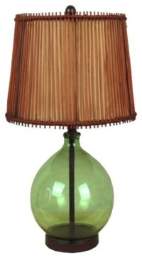 Light Green Glass Base Brown Shade Table Lamp ...