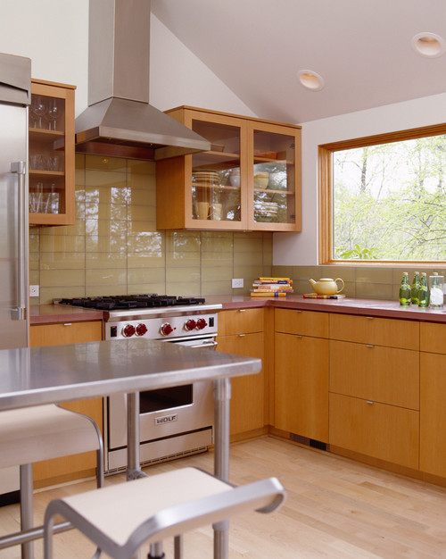 Kitchen with glass tile
