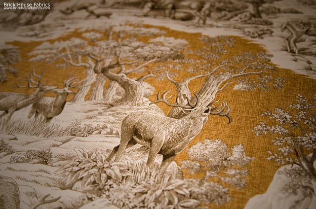 artificial house plants living room sectionals for deer fabric gold toile nature woodland cabin lodge ...