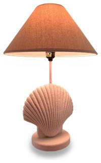 Textured White Scallop Shell Style Lamp w/Fabric Shade