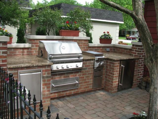 Brick Granite  Limestone Outdoor Kitchen  Traditional