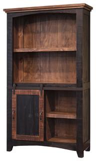 Greenview Sliding Door Bookcase Distressed Black Rustic
