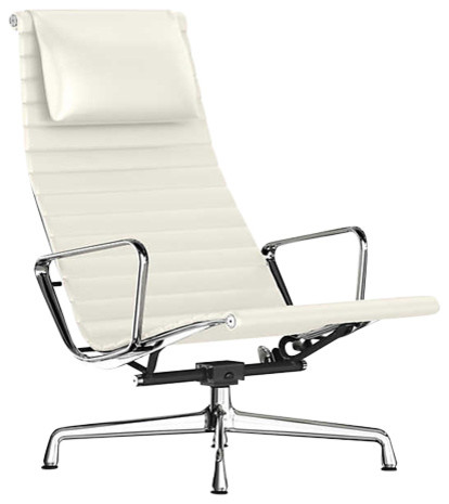 eames aluminum chair fold out single bed lounge w headrest by herman miller pearl white mcl
