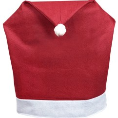 Christmas Chair Covers White Beach With Cup Holder Soft Fabric Santa Hat Slip Red And Set Of 4