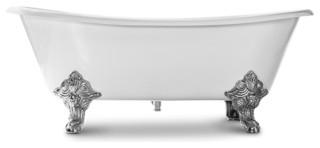 "Katharine Oval Clawfoot Bathtub, White Cast Iron, 70"""